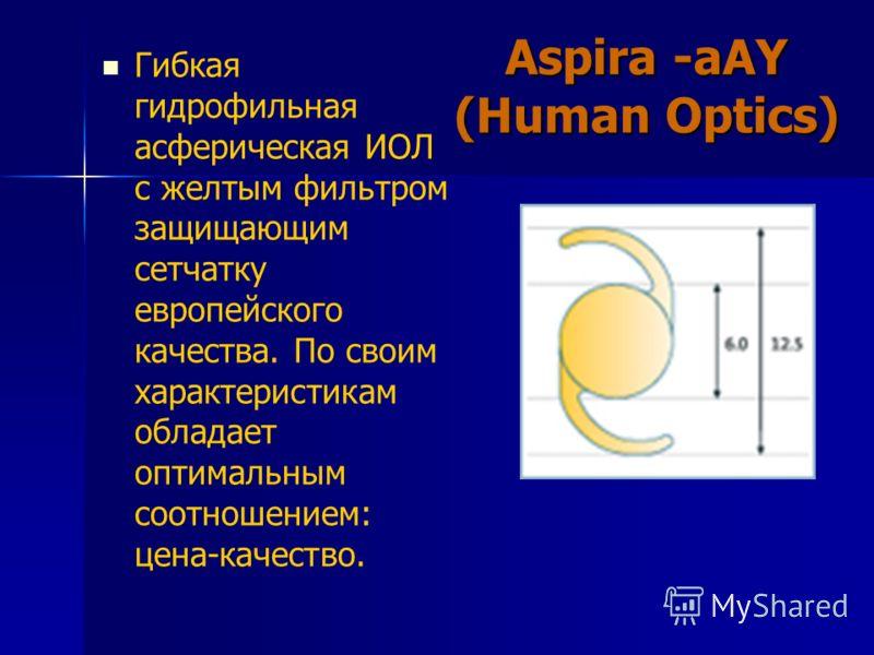 Гибкая гидрофильная асферическая ИОЛ с желтым фильтром защищающим сетчатку европейского качества. По своим характеристикам обладает оптимальным соотношением: цена-качество. Aspira -aAY (Human Optics)
