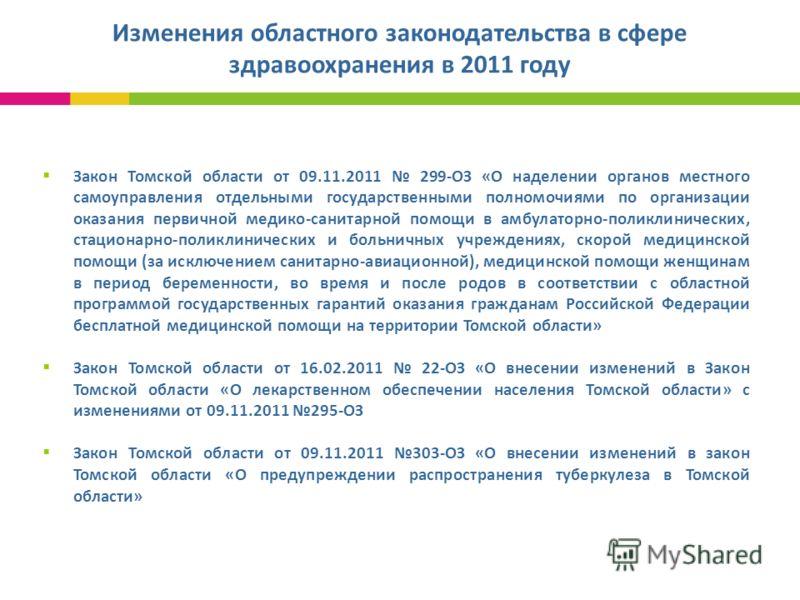 Изменения областного законодательства в сфере здравоохранения в 2011 году Закон Томской области от 09.11.2011 299-ОЗ «О наделении органов местного самоуправления отдельными государственными полномочиями по организации оказания первичной медико-санита