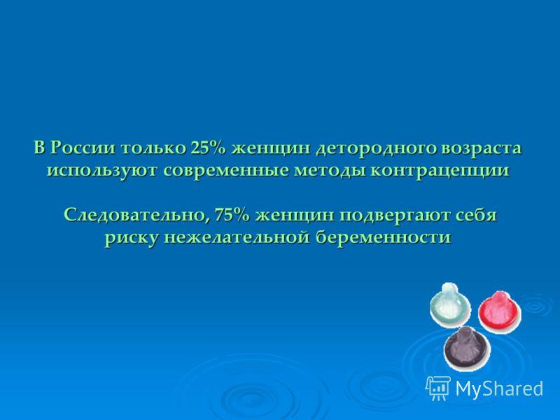 В России только 25% женщин детородного возраста используют современные методы контрацепции Следовательно, 75% женщин подвергают себя риску нежелательной беременности