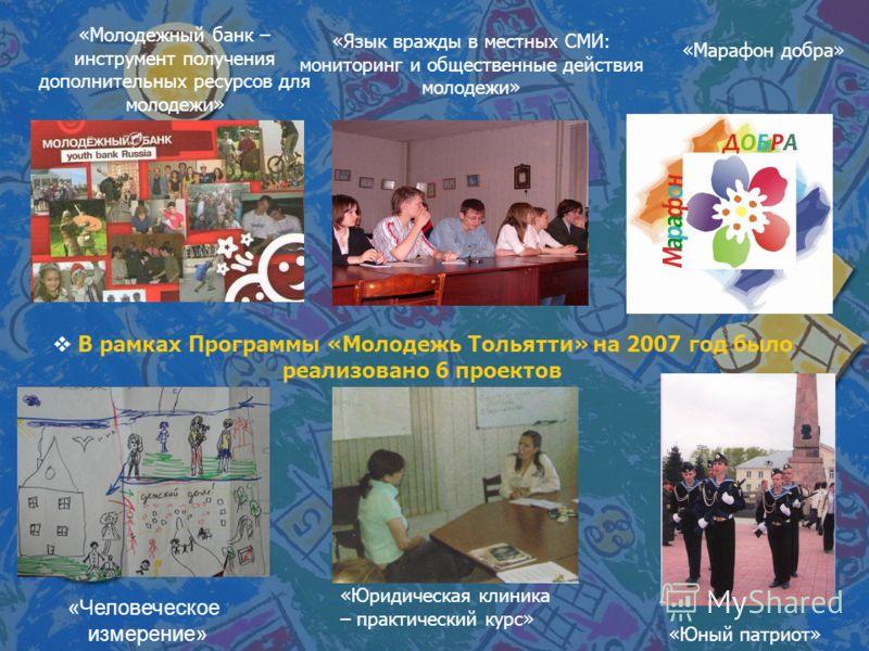 В рамках Программы «Молодежь Тольятти» на 2007 год было реализовано 6 проектов «Юридическая клиника – практический курс» «Человеческое измерение» «Юный патриот» «Марафон добра» «Молодежный банк – инструмент получения дополнительных ресурсов для молод