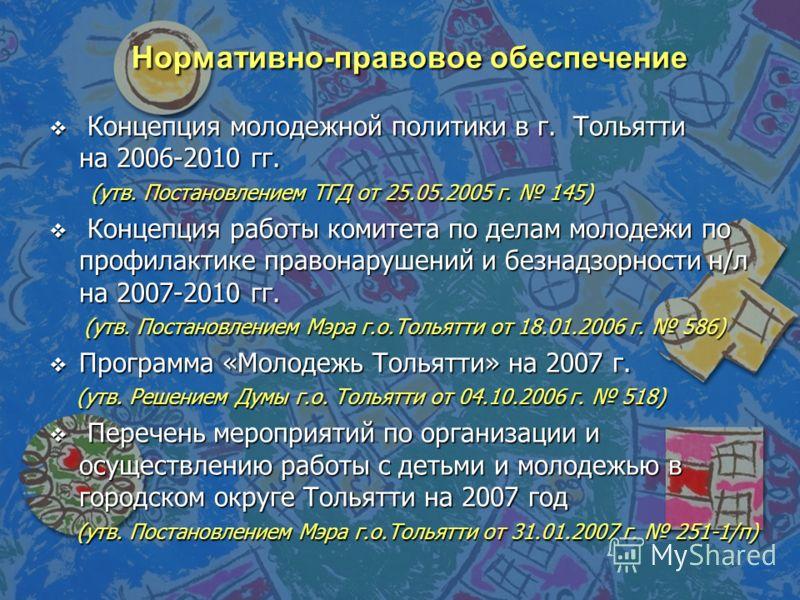 Нормативно-правовое обеспечение Концепция молодежной политики в г. Тольятти на 2006-2010 гг. Концепция молодежной политики в г. Тольятти на 2006-2010 гг. (утв. Постановлением ТГД от 25.05.2005 г. 145) (утв. Постановлением ТГД от 25.05.2005 г. 145) Ко