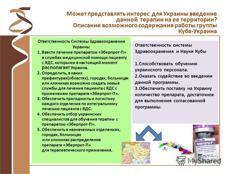 Ответственность Системы Здравоохранения Украины 1.Ввести лечение препаратом «Эберпрот-П» в службах медицинской помощи пациенту с ЯДС, которыми в настоящий момент располагает Украина. 2.Определить, в каких префектурах(областях), городах, больницах или