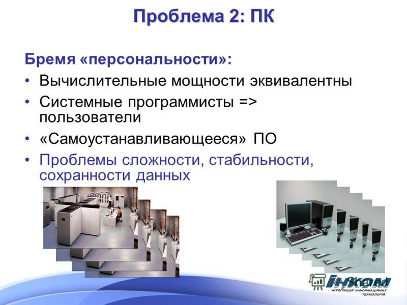 Проблема 2: ПК Бремя «персональности»: Вычислительные мощности эквивалентны Системные программисты => пользователи «Самоустанавливающееся» ПО Проблемы сложности, стабильности, сохранности данных