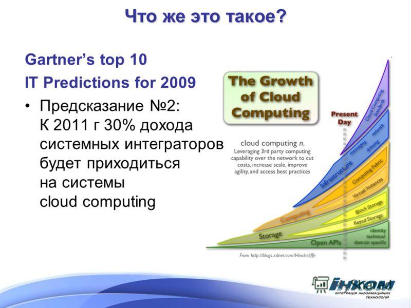 Gartners top 10 IT Predictions for 2009 Предсказание 2: К 2011 г 30% дохода системных интеграторов будет приходиться на системы cloud computing