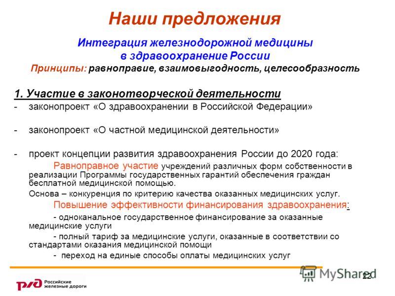 22 Наши предложения Интеграция железнодорожной медицины в здравоохранение России Принципы: равноправие, взаимовыгодность, целесообразность 1. Участие в законотворческой деятельности -законопроект «О здравоохранении в Российской Федерации» -законопрое