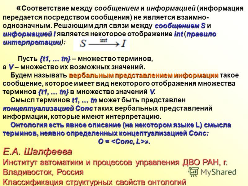 сообщением S информацией I int правило интерпретации): « Соответствие между сообщением и информацией (информация передается посредством сообщения) не является взаимно- однозначным. Решающим для связи между сообщением S и информацией I является некото