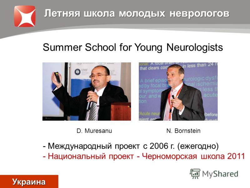 Summer School for Young Neurologists Летняя школа молодых неврологов - Международный проект с 2006 г. (ежегодно) - Национальный проект - Черноморская школа 2011 Украина D. MuresanuN. Bornstein
