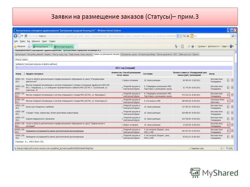 Заявки на размещение заказов (Статусы)– прим.3