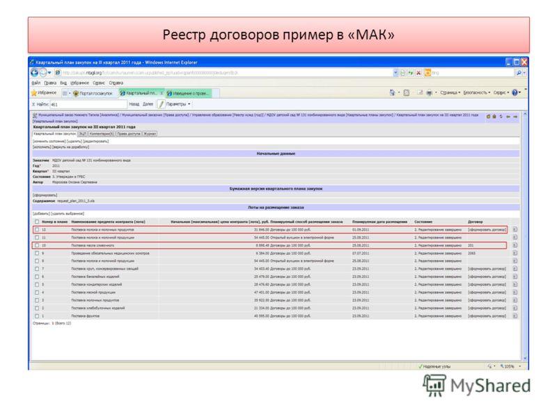 Реестр договоров пример в «МАК»