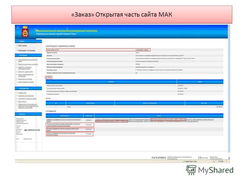 «Заказ» Открытая часть сайта МАК