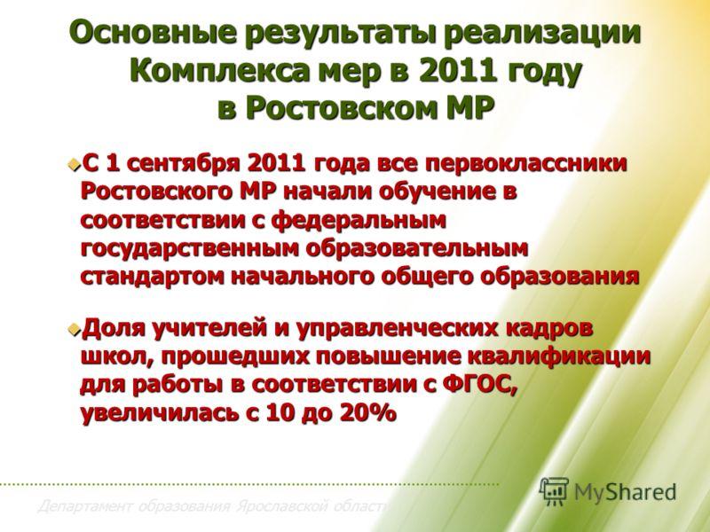Департамент образования Ярославской области Основные результаты реализации Комплекса мер в 2011 году в Ростовском МР С 1 сентября 2011 года все первоклассники Ростовского МР начали обучение в соответствии с федеральным государственным образовательным