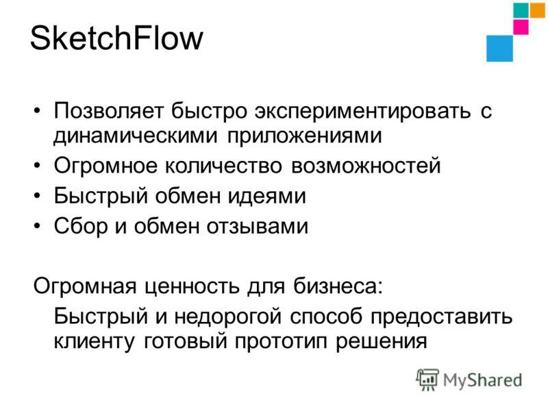 SketchFlow Позволяет быстро экспериментировать с динамическими приложениями Огромное количество возможностей Быстрый обмен идеями Сбор и обмен отзывами Огромная ценность для бизнеса: Быстрый и недорогой способ предоставить клиенту готовый прототип ре