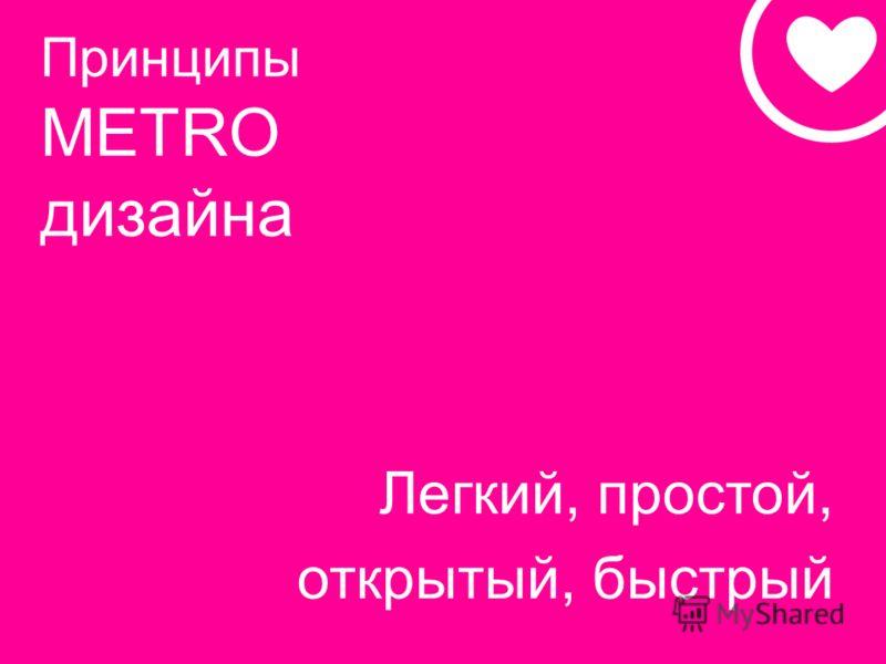 Принципы METRO дизайна Легкий, простой, открытый, быстрый