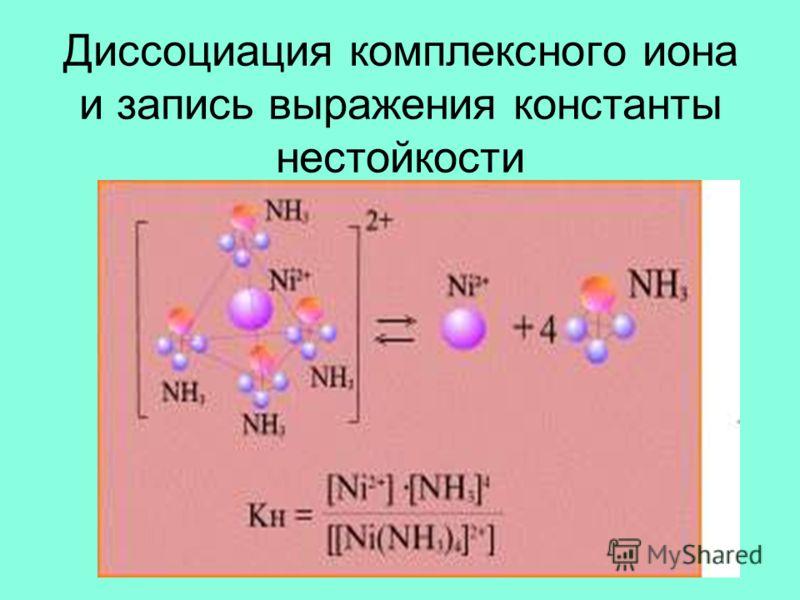 Диссоциация комплексного иона и запись выражения константы нестойкости