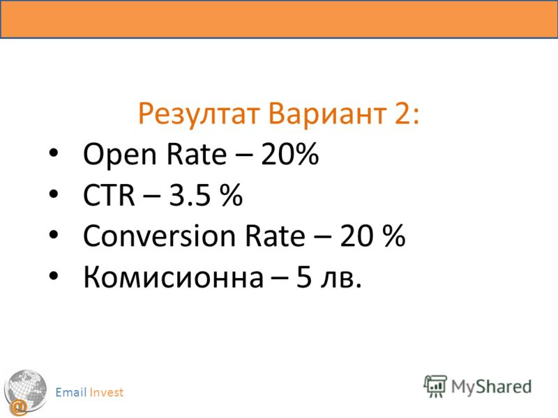 Резултат Вариант 2: Open Rate – 20% CTR – 3.5 % Conversion Rate – 20 % Комисионна – 5 лв. Email Invest