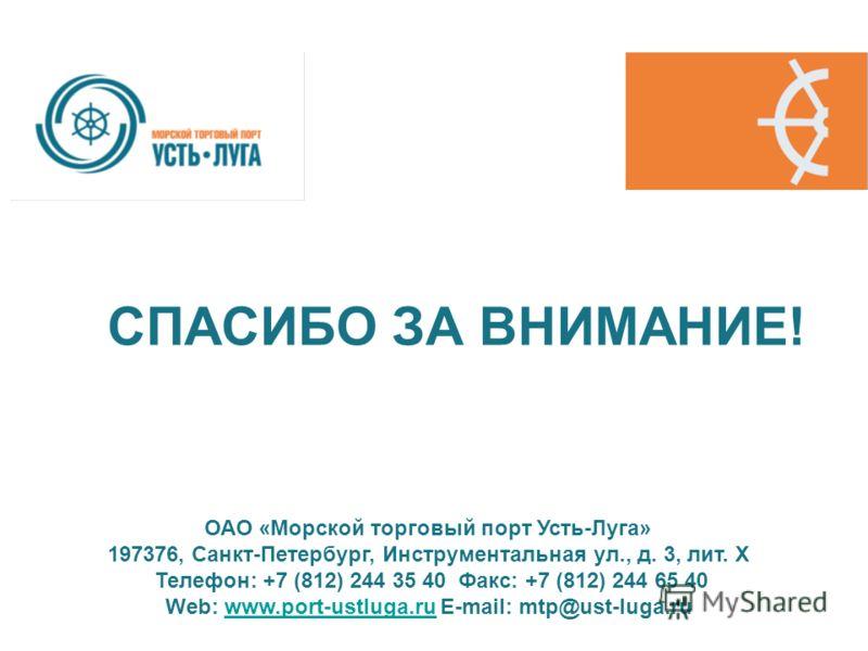 СПАСИБО ЗА ВНИМАНИЕ! ОАО «Морской торговый порт Усть-Луга» 197376, Санкт-Петербург, Инструментальная ул., д. 3, лит. Х Телефон: +7 (812) 244 35 40 Факс: +7 (812) 244 65 40 Web: www.port-ustluga.ru E-mail: mtp@ust-luga.ruwww.port-ustluga.ru