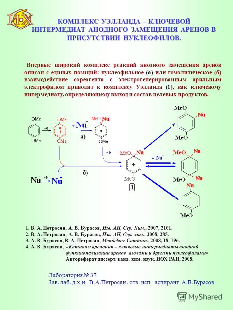 КОМПЛЕКС УЭЛЛАНДА – КЛЮЧЕВОЙ ИНТЕРМЕДИАТ АНОДНОГО ЗАМЕЩЕНИЯ АРЕНОВ В ПРИСУТСТВИИ НУКЛЕОФИЛОВ. Впервые широкий комплекс реакций анодного замещения аренов описан с единых позиций: нуклеофильное (а) или гомолитическое (б) взаимодействие сореагента с эле