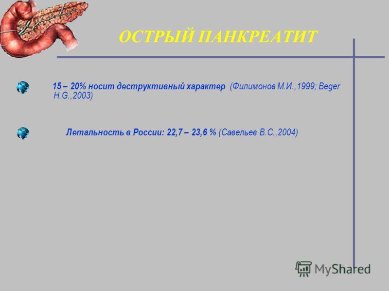ОСТРЫЙ ПАНКРЕАТИТ 15 – 20% носит деструктивный характер (Филимонов М.И.,1999; Beger H.G.,2003) Летальность в России: 22,7 – 23,6 % (Савельев В.С.,2004)