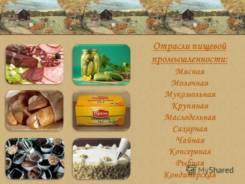 Отрасли пищевой промышленности: Мясная Молочная Мукомольная Крупяная Маслодельная Сахарная Чайная Консервная Рыбная Кондитерская
