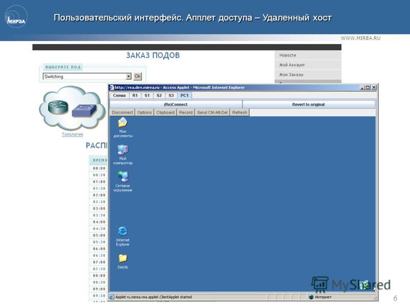 WWW.MIREA.RU 6 Пользовательский интерфейс. Апплет доступа – Удаленный хост Пользовательский интерфейс. Апплет доступа – Удаленный хост