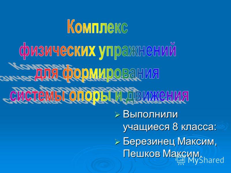 Выполнили учащиеся 8 класса: Выполнили учащиеся 8 класса: Березинец Максим, Пешков Максим. Березинец Максим, Пешков Максим.