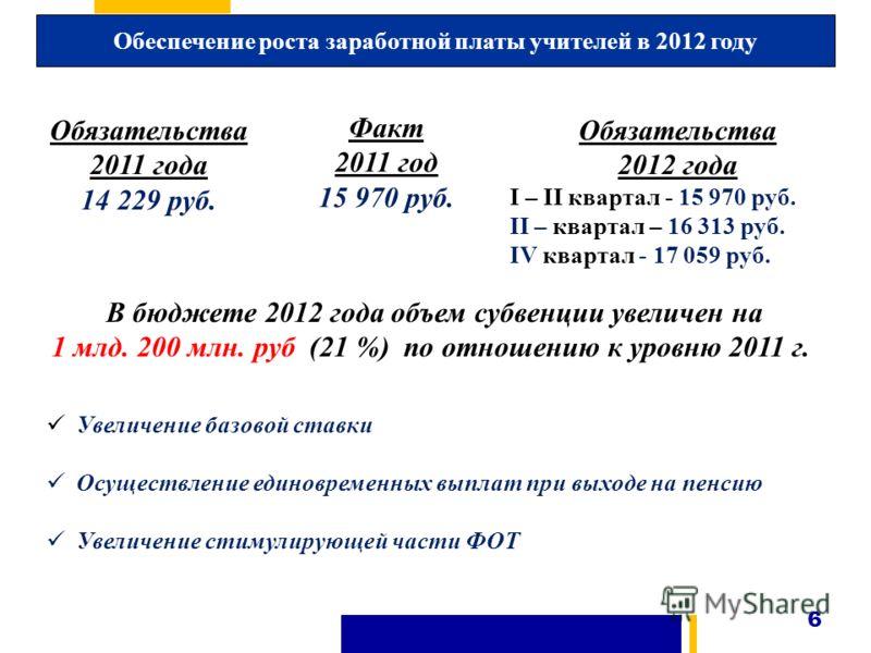 6 Обеспечение роста заработной платы учителей в 2012 году В бюджете 2012 года объем субвенции увеличен на 1 млд. 200 млн. руб (21 %) по отношению к уровню 2011 г. Увеличение базовой ставки Осуществление единовременных выплат при выходе на пенсию Увел