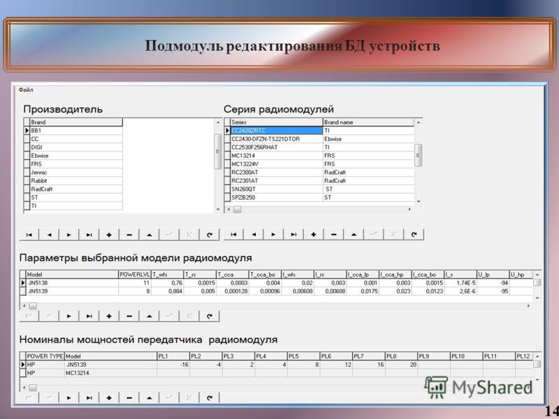 Подмодуль редактирования БД устройств 14