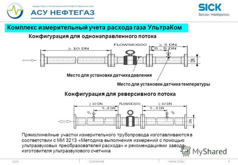 : Confidential SICK : Name (Date)9 Комплекс измерительный учета расхода газа УльтраКом Место для установки датчика температуры Место для установки датчика давления Конфигурация для однонаправленного потока Конфигурация для реверсивного потока Прямоли