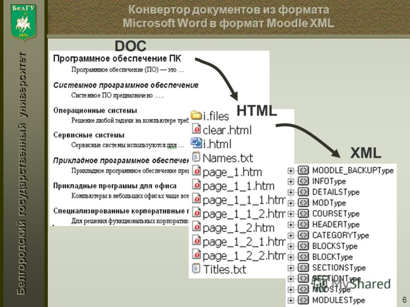 Белгородский государственный университет 6 DOC HTML XML
