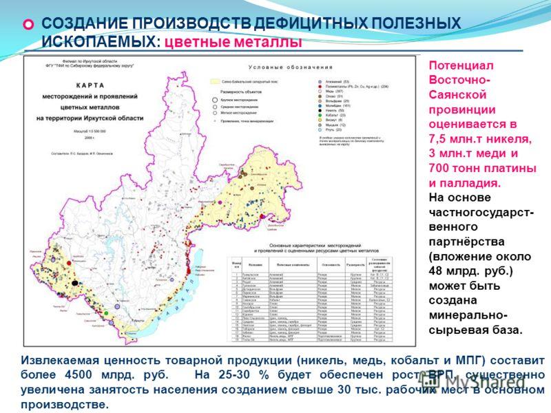 Потенциал Восточно- Саянской провинции оценивается в 7,5 млн.т никеля, 3 млн.т меди и 700 тонн платины и палладия. На основе частногосударст- венного партнёрства (вложение около 48 млрд. руб.) может быть создана минерально- сырьевая база. Извлекаемая