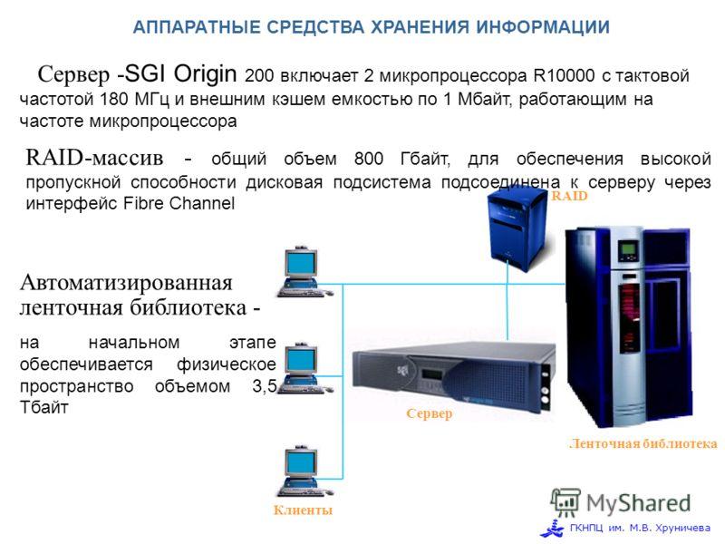 ГКНПЦ им. М.В. Хруничева Сервер Клиенты Ленточная библиотека RAID АППАРАТНЫЕ СРЕДСТВА ХРАНЕНИЯ ИНФОРМАЦИИ Сервер - SGI Origin 200 включает 2 микропроцессора R10000 с тактовой частотой 180 МГц и внешним кэшем емкостью по 1 Мбайт, работающим на частоте
