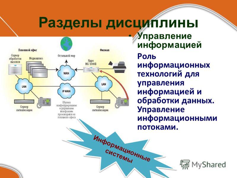 Разделы дисциплины Управление информацией Роль информационных технологий для управления информацией и обработки данных. Управление информационными потоками. Информационные системы