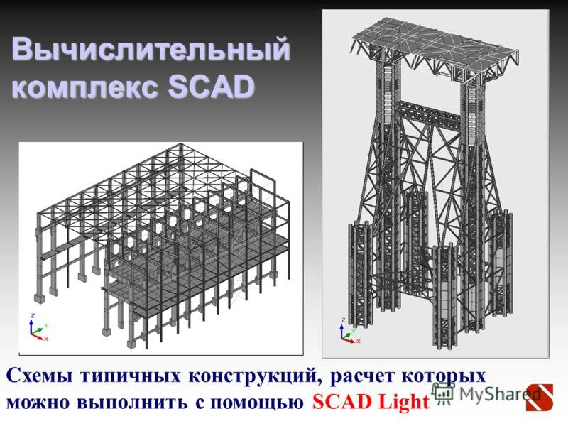 Вычислительный комплекс SCAD Схемы типичных конструкций, расчет которых можно выполнить с помощью SCAD Light