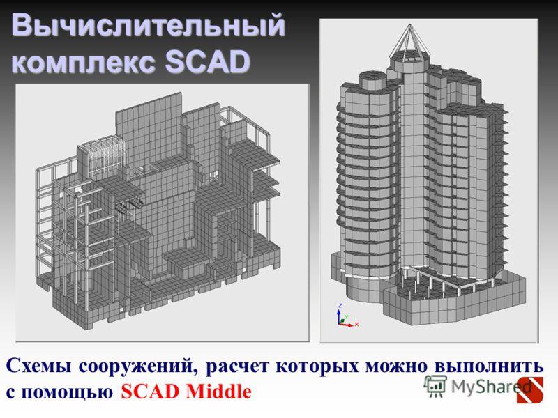 Вычислительный комплекс SCAD Схемы сооружений, расчет которых можно выполнить с помощью SCAD Middle