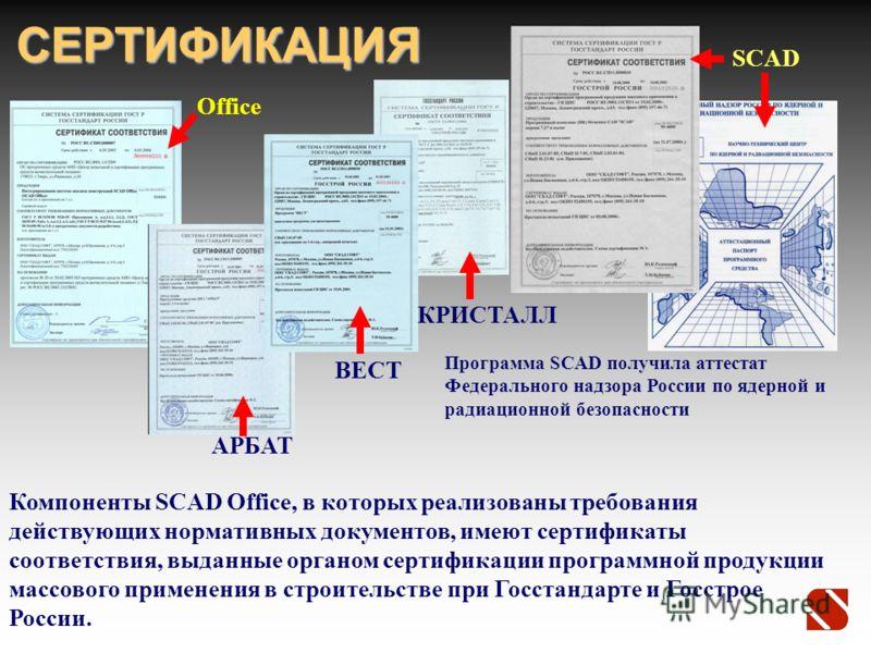 СЕРТИФИКАЦИЯ Программа SCAD получила аттестат Федерального надзора России по ядерной и радиационной безопасности Компоненты SCAD Office, в которых реализованы требования действующих нормативных документов, имеют сертификаты соответствия, выданные орг