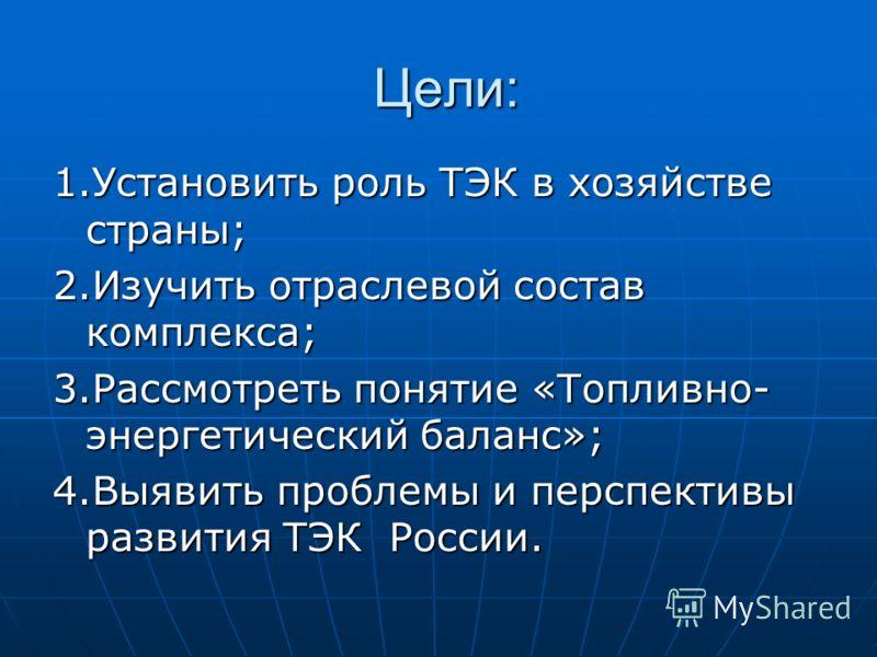 Цели: 1.Установить роль ТЭК в хозяйстве страны; 2.Изучить отраслевой состав комплекса; 3.Рассмотреть понятие «Топливно- энергетический баланс»; 4.Выявить проблемы и перспективы развития ТЭК России.