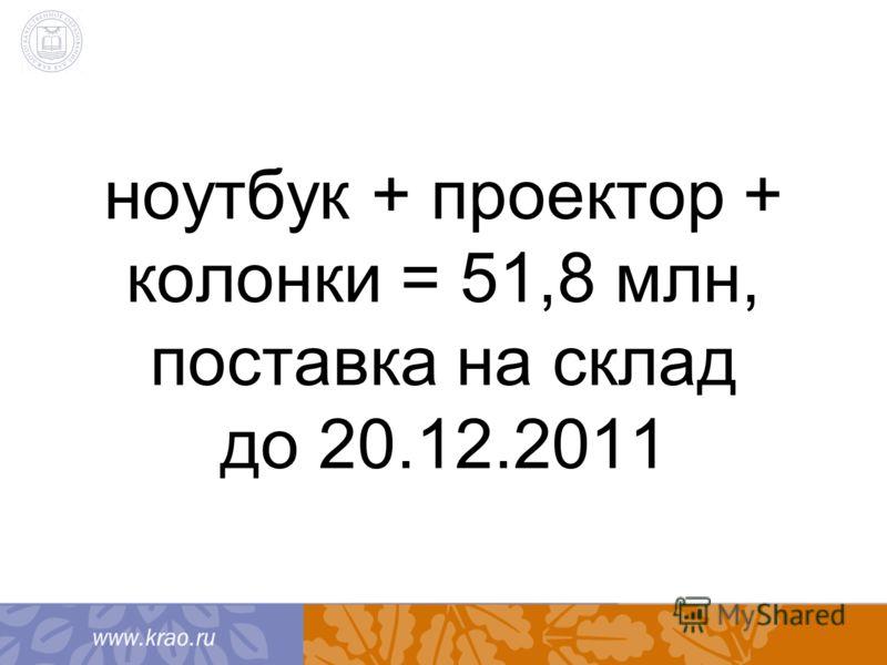 ноутбук + проектор + колонки = 51,8 млн, поставка на склад до 20.12.2011