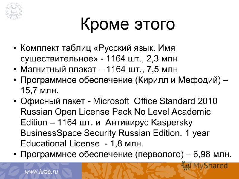 Кроме этого Комплект таблиц «Русский язык. Имя существительное» - 1164 шт., 2,3 млн Магнитный плакат – 1164 шт., 7,5 млн Программное обеспечение (Кирилл и Мефодий) – 15,7 млн. Офисный пакет - Microsoft Office Standard 2010 Russian Open License Pack N