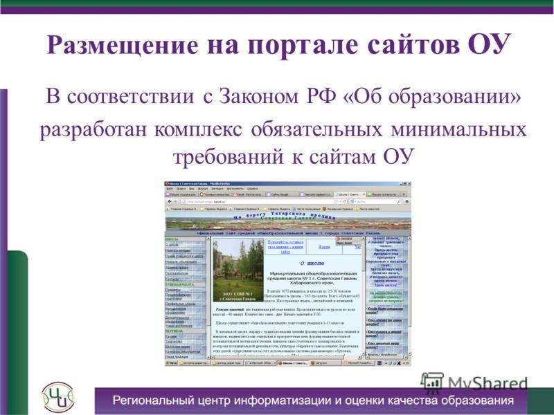 Размещение на портале сайтов ОУ В соответствии с Законом РФ «Об образовании» разработан комплекс обязательных минимальных требований к сайтам ОУ