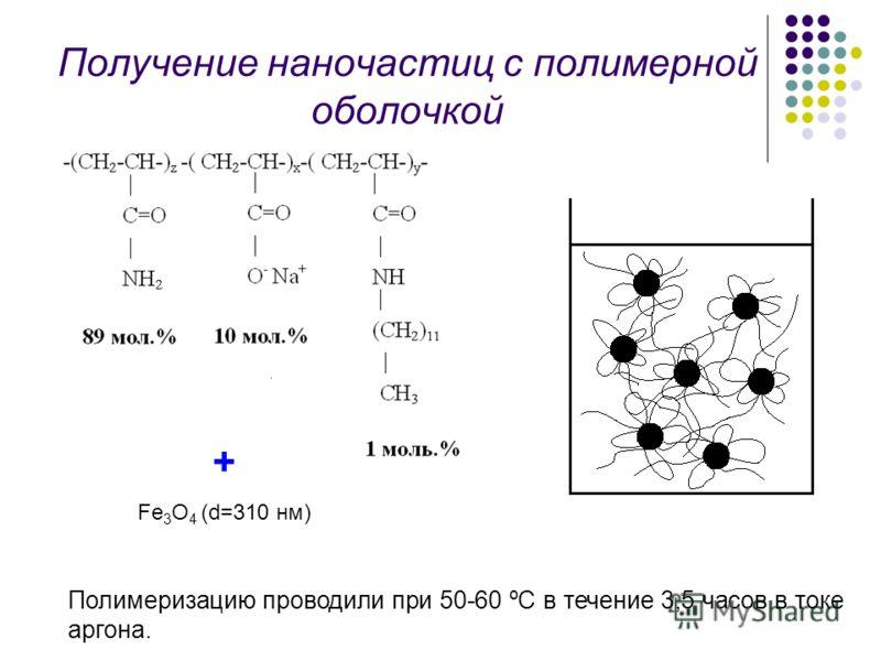 Получение наночастиц с полимерной оболочкой + Fe 3 O 4 (d=310 нм) Полимеризацию проводили при 50-60 ºС в течение 3,5 часов в токе аргона.