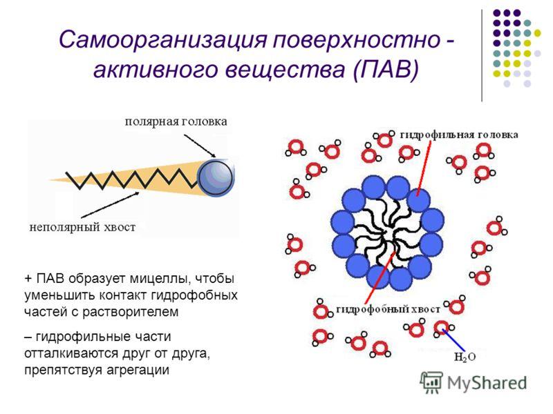 Самоорганизация поверхностно - активного вещества (ПАВ) + ПАВ образует мицеллы, чтобы уменьшить контакт гидрофобных частей с растворителем – гидрофильные части отталкиваются друг от друга, препятствуя агрегации