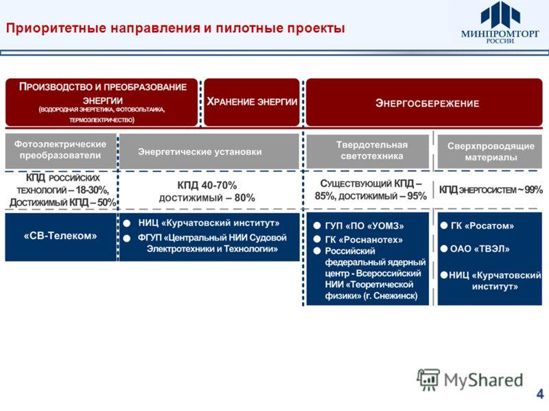 Приоритетные направления и пилотные проекты4