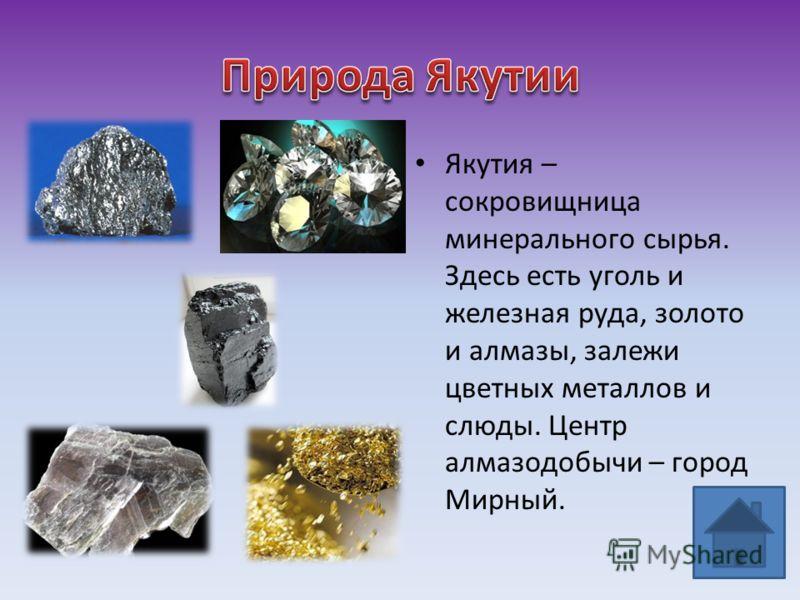 Якутия – сокровищница минерального сырья. Здесь есть уголь и железная руда, золото и алмазы, залежи цветных металлов и слюды. Центр алмазодобычи – город Мирный.