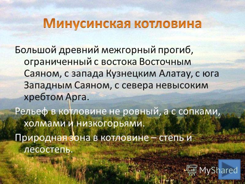 Большой древний межгорный прогиб, ограниченный с востока Восточным Саяном, с запада Кузнецким Алатау, с юга Западным Саяном, с севера невысоким хребтом Арга. Рельеф в котловине не ровный, а с сопками, холмами и низкогорьями. Природная зона в котловин
