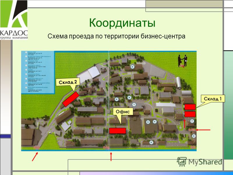 Координаты Схема проезда по территории бизнес-центра Склад 1 Склад 2 Офис