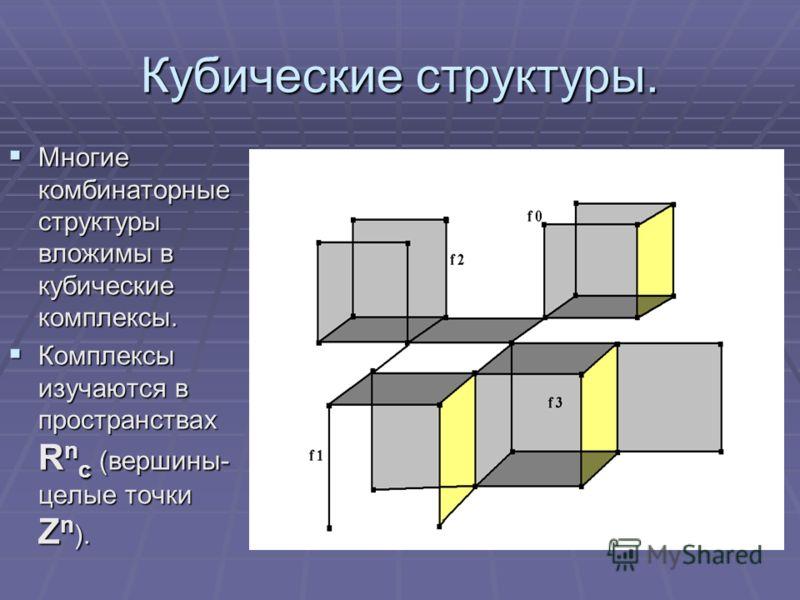 Кубические структуры. Многие комбинаторные структуры вложимы в кубические комплексы. Многие комбинаторные структуры вложимы в кубические комплексы. Комплексы изучаются в пространствах R n c (вершины- целые точки Z n ). Комплексы изучаются в пространс