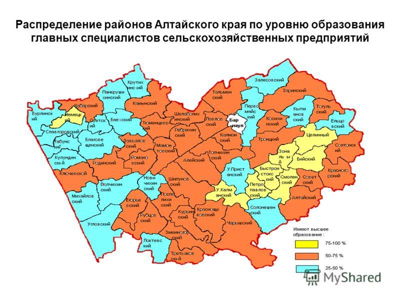 Распределение районов Алтайского края по уровню образования главных специалистов сельскохозяйственных предприятий