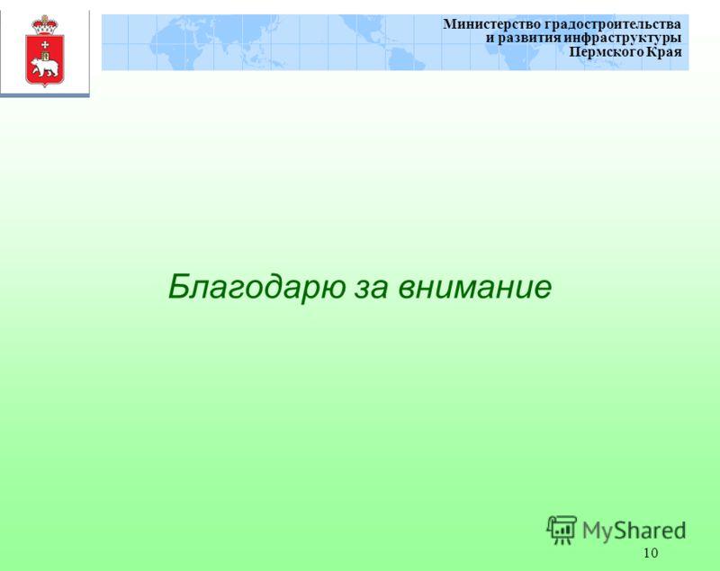 10 Министерство градостроительства и развития инфраструктуры Пермского Края Благодарю за внимание