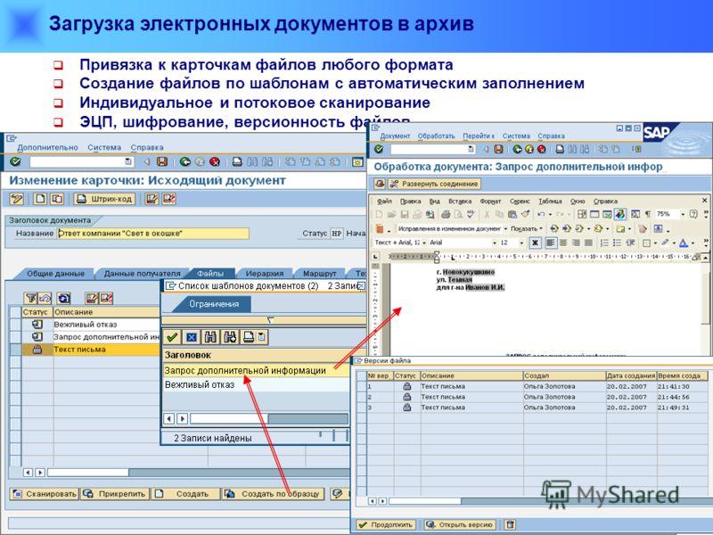 Загрузка электронных документов в архив Привязка к карточкам файлов любого формата Создание файлов по шаблонам с автоматическим заполнением Индивидуальное и потоковое сканирование ЭЦП, шифрование, версионность файлов