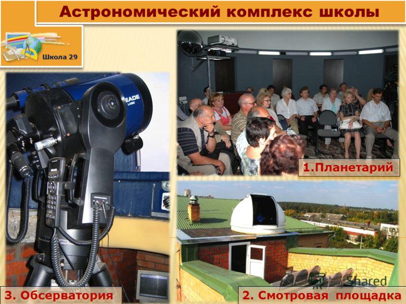 Астрономический комплекс школы Школа 29 1.Планетарий 2. Смотровая площадка 3. Обсерватория